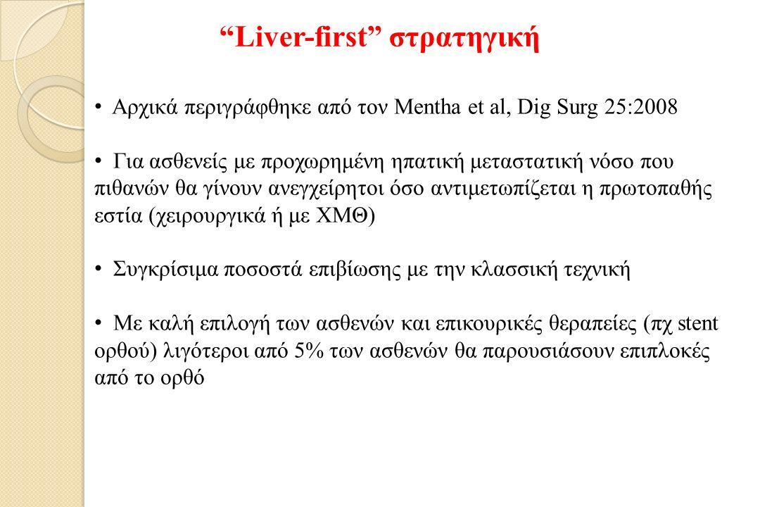 Liver-first στρατηγική Αρχικά περιγράφθηκε από τον Mentha et al, Dig Surg 25:2008 Για ασθενείς με προχωρημένη ηπατική μεταστατική νόσο που πιθανών θα γίνουν ανεγχείρητοι όσο αντιμετωπίζεται η πρωτοπαθής εστία (χειρουργικά ή με ΧΜΘ) Συγκρίσιμα ποσοστά επιβίωσης με την κλασσική τεχνική Με καλή επιλογή των ασθενών και επικουρικές θεραπείες (πχ stent ορθού) λιγότεροι από 5% των ασθενών θα παρουσιάσουν επιπλοκές από το ορθό