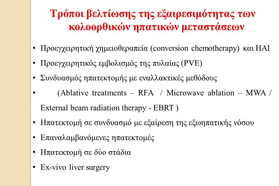 Προεγχειρητική χημειοθεραπεία (conversion chemotherapy) και HAI Προεγχειρητικός εμβολισμός της πυλαίας (PVE) Συνδυασμός ηπατεκτομής με εναλλακτικές μεθόδους (Ablative treatments – RFA / Microwave ablation – MWA / External beam radiation therapy - EBRT ) Ηπατεκτομή σε συνδυασμό με εξαίρεση της εξωηπατικής νόσου Επαναλαμβανόμενες ηπατεκτομές Ηπατεκτομή σε δύο στάδια Εx-vivo liver surgery Τρόποι βελτίωσης της εξαιρεσιμότητας των κολοορθικών ηπατικών μεταστάσεων