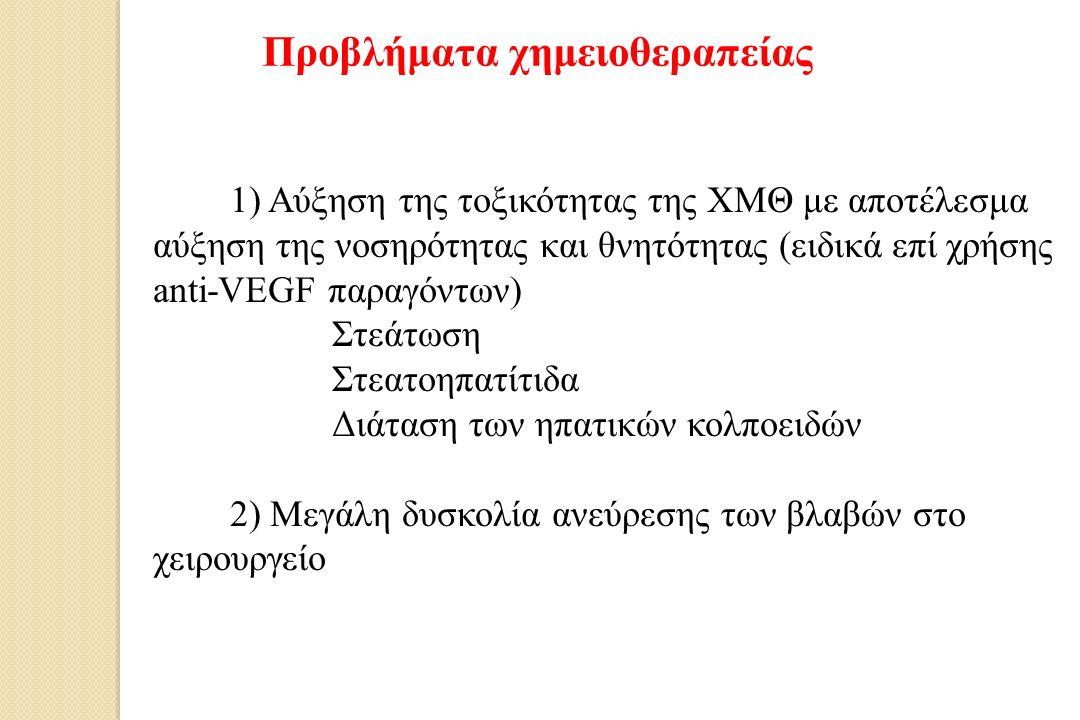 1) Αύξηση της τοξικότητας της ΧΜΘ με αποτέλεσμα αύξηση της νοσηρότητας και θνητότητας (ειδικά επί χρήσης anti-VEGF παραγόντων) a)Στεάτωση b)Στεατοηπατίτιδα c)Διάταση των ηπατικών κολποειδών 2) Μεγάλη δυσκολία ανεύρεσης των βλαβών στο χειρουργείο Προβλήματα χημειοθεραπείας