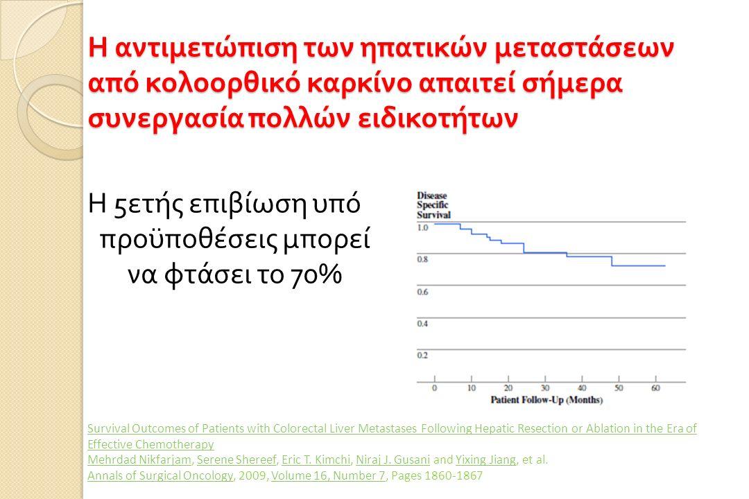 Η αντιμετώπιση των ηπατικών μεταστάσεων από κολοορθικό καρκίνο απαιτεί σήμερα συνεργασία πολλών ειδικοτήτων Η 5 ετής επιβίωση υπό προϋποθέσεις μπορεί να φτάσει το 70% Survival Outcomes of Patients with Colorectal Liver Metastases Following Hepatic Resection or Ablation in the Era of Effective Chemotherapy Mehrdad NikfarjamMehrdad Nikfarjam, Serene Shereef, Eric T.
