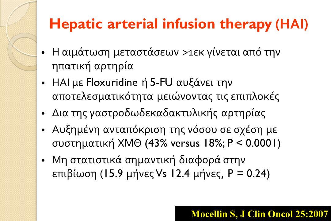 Η αιμάτωση μεταστάσεων >1 εκ γίνεται από την ηπατική αρτηρία ΗΑΙ με Floxuridine ή 5-FU αυξάνει την αποτελεσματικότητα μειώνοντας τις επιπλοκές Δια της γαστροδωδεκαδακτυλικής αρτηρίας Αυξημένη ανταπόκριση της νόσου σε σχέση με συστηματική ΧΜΘ (43% versus 18%; P < 0.0001) Μη στατιστικά σημαντική διαφορά στην επιβίωση (15.9 μήνες Vs 12.4 μήνες, P = 0.24) Hepatic arterial infusion therapy ( ΗΑΙ ) Mocellin S, J Clin Oncol 25:2007
