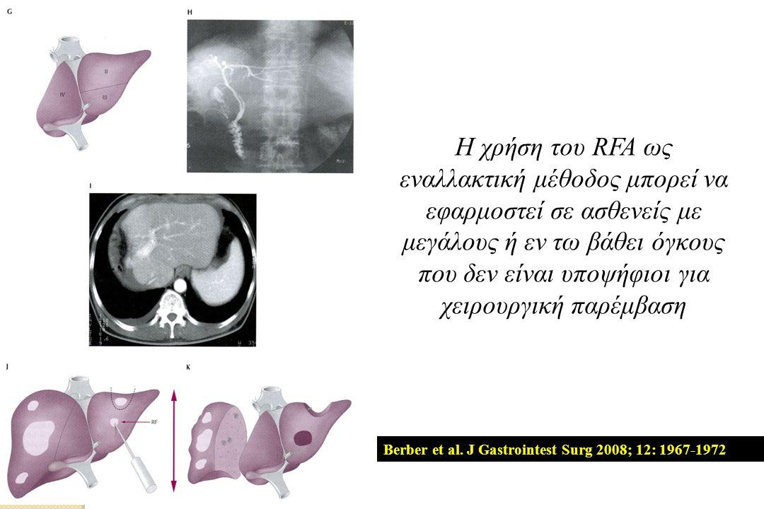 Η χρήση του RFA ως εναλλακτική μέθοδος μπορεί να εφαρμοστεί σε ασθενείς με μεγάλους ή εν τω βάθει όγκους που δεν είναι υποψήφιοι για χειρουργική παρέμβαση Berber et al.