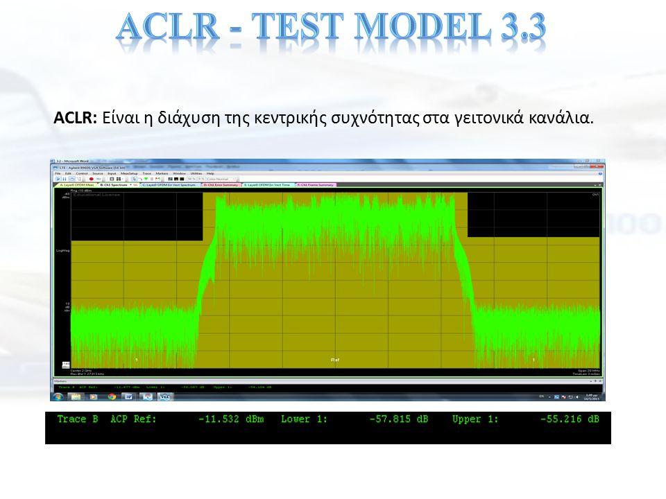 ACLR: Είναι η διάχυση της κεντρικής συχνότητας στα γειτονικά κανάλια.