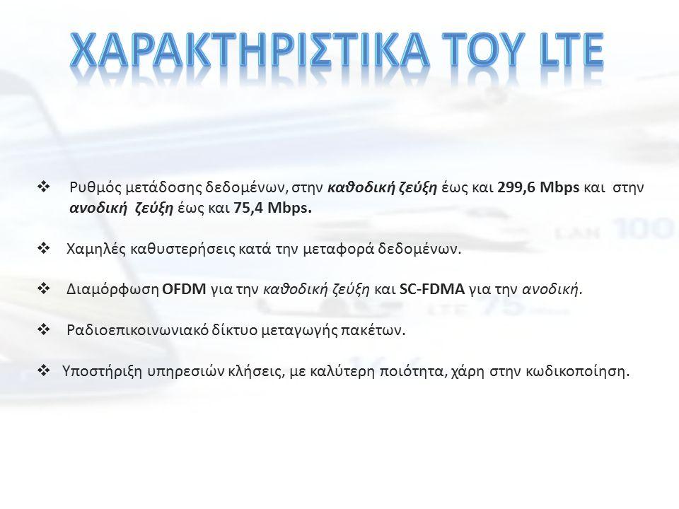  Ρυθμός μετάδοσης δεδομένων, στην καθοδική ζεύξη έως και 299,6 Mbps και στην ανοδική ζεύξη έως και 75,4 Mbps.