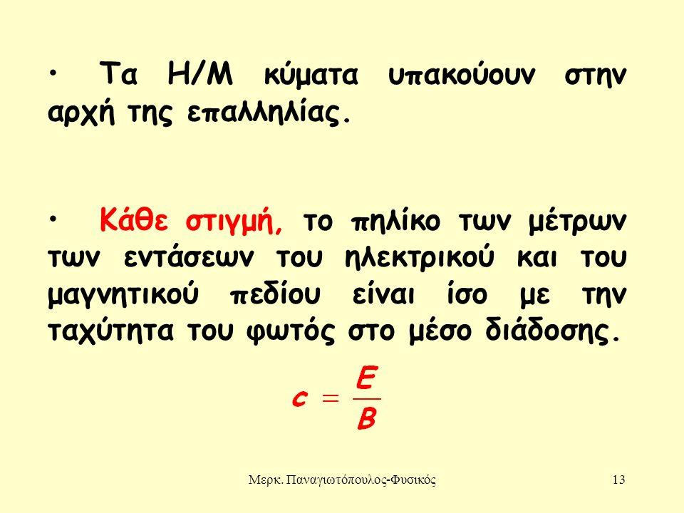 Μερκ. Παναγιωτόπουλος-Φυσικός13 Τα Η/Μ κύματα υπακούουν στην αρχή της επαλληλίας. Κάθε στιγμή, το πηλίκο των μέτρων των εντάσεων του ηλεκτρικού και το