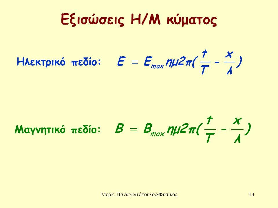 Μερκ. Παναγιωτόπουλος-Φυσικός14 Εξισώσεις Η/Μ κύματος Ηλεκτρικό πεδίο: Μαγνητικό πεδίο: