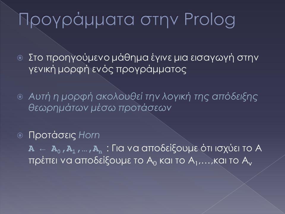  Στο προηγούμενο μάθημα έγινε μια εισαγωγή στην γενική μορφή ενός προγράμματος  Αυτή η μορφή ακολουθεί την λογική της απόδειξης θεωρημάτων μέσω προτάσεων  Προτάσεις Horn A ← A 0,A 1,…,A n : Για να αποδείξουμε ότι ισχύει το Α πρέπει να αποδείξουμε το Α 0 και το Α 1,…,και το Α ν