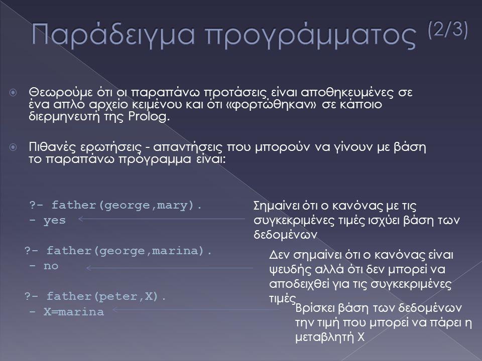  Θεωρούμε ότι οι παραπάνω προτάσεις είναι αποθηκευμένες σε ένα απλό αρχείο κειμένου και ότι «φορτώθηκαν» σε κάποιο διερμηνευτή της Prolog.  Πιθανές