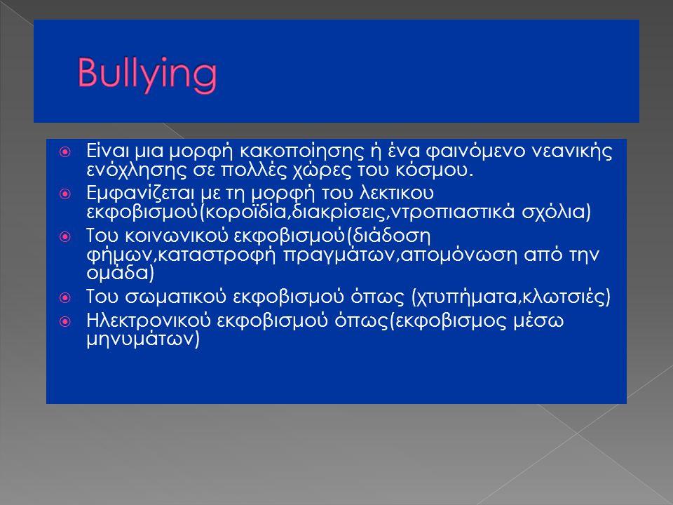  Είναι μια μορφή κακοποίησης ή ένα φαινόμενο νεανικής ενόχλησης σε πολλές χώρες του κόσμου.  Εμφανίζεται με τη μορφή του λεκτικου εκφοβισμού(κοροϊδί