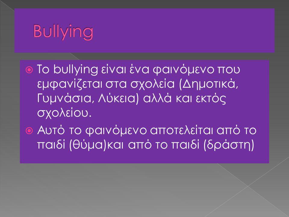 Το bullying είναι ένα φαινόμενο που εμφανίζεται στα σχολεία (Δημοτικά, Γυμνάσια, Λύκεια) αλλά και εκτός σχολείου.  Αυτό το φαινόμενο αποτελείται απ