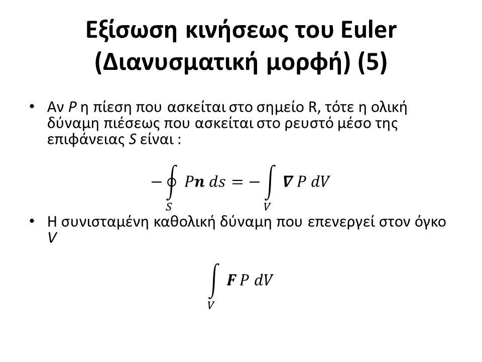 Εξίσωση κινήσεως του Euler (Διανυσματική μορφή) (5)