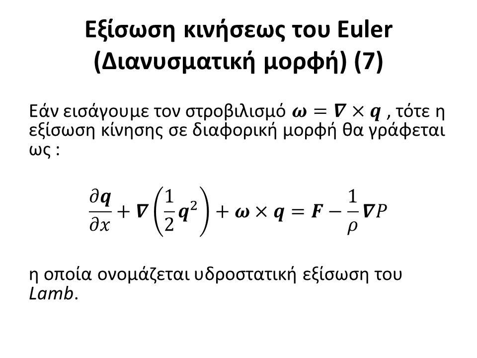 Εξίσωση κινήσεως του Euler (Διανυσματική μορφή) (7)