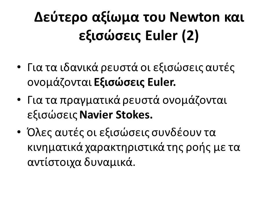 Δεύτερο αξίωμα του Newton και εξισώσεις Euler (2) Για τα ιδανικά ρευστά οι εξισώσεις αυτές ονομάζονται Εξισώσεις Euler.