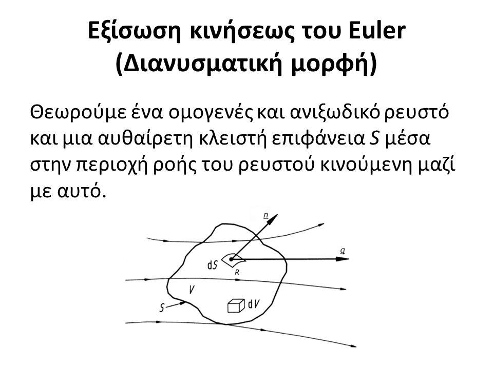 Εξίσωση κινήσεως του Euler (Διανυσματική μορφή) Θεωρούμε ένα ομογενές και ανιξωδικό ρευστό και μια αυθαίρετη κλειστή επιφάνεια S μέσα στην περιοχή ροής του ρευστού κινούμενη μαζί με αυτό.