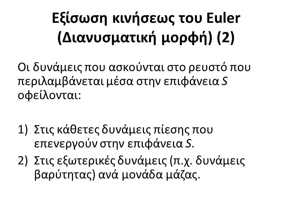 Εξίσωση κινήσεως του Euler (Διανυσματική μορφή) (2) Οι δυνάμεις που ασκούνται στο ρευστό που περιλαμβάνεται μέσα στην επιφάνεια S οφείλονται: 1)Στις κάθετες δυνάμεις πίεσης που επενεργούν στην επιφάνεια S.