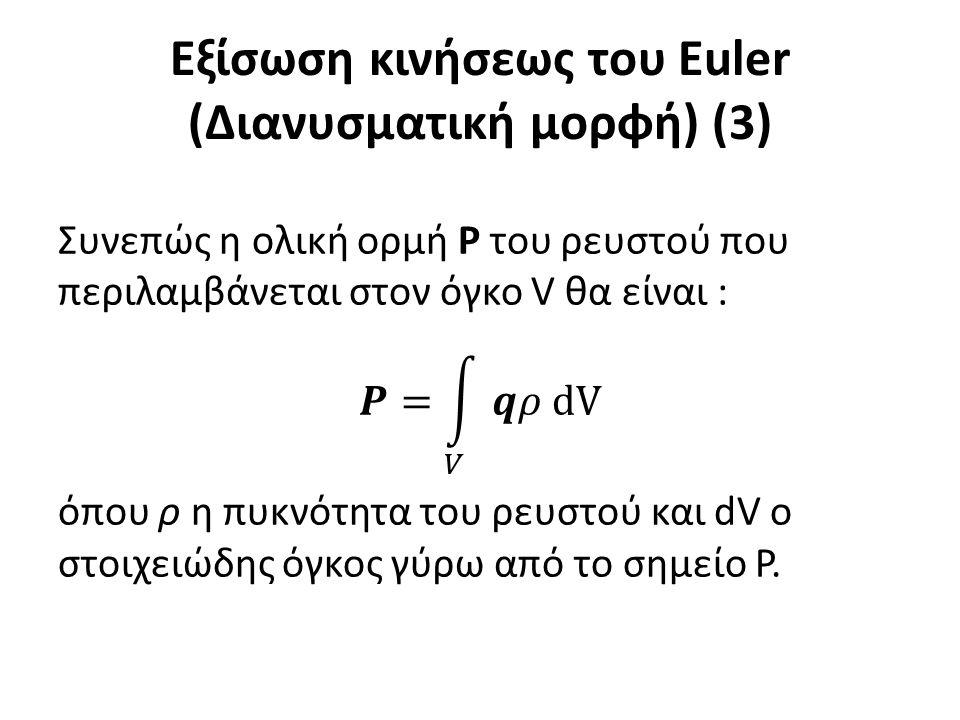 Ολοκλήρωση των αναλυτικών εξισώσεων της κινήσεως Στις ίδιες σχέσεις με εκείνες της προηγούμενης παραγράφου μπορεί να καταλήξει κανείς, με τις ίδιες βέβαια υποθέσεις, χρησιμοποιώντας τις αναλυτικές εξισώσεις της κίνησης του Euler.