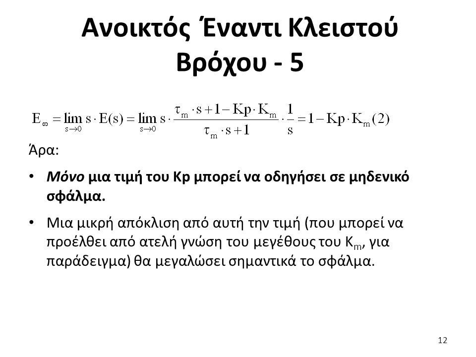 Άρα: Μόνο μια τιμή του Kp μπορεί να οδηγήσει σε μηδενικό σφάλμα.