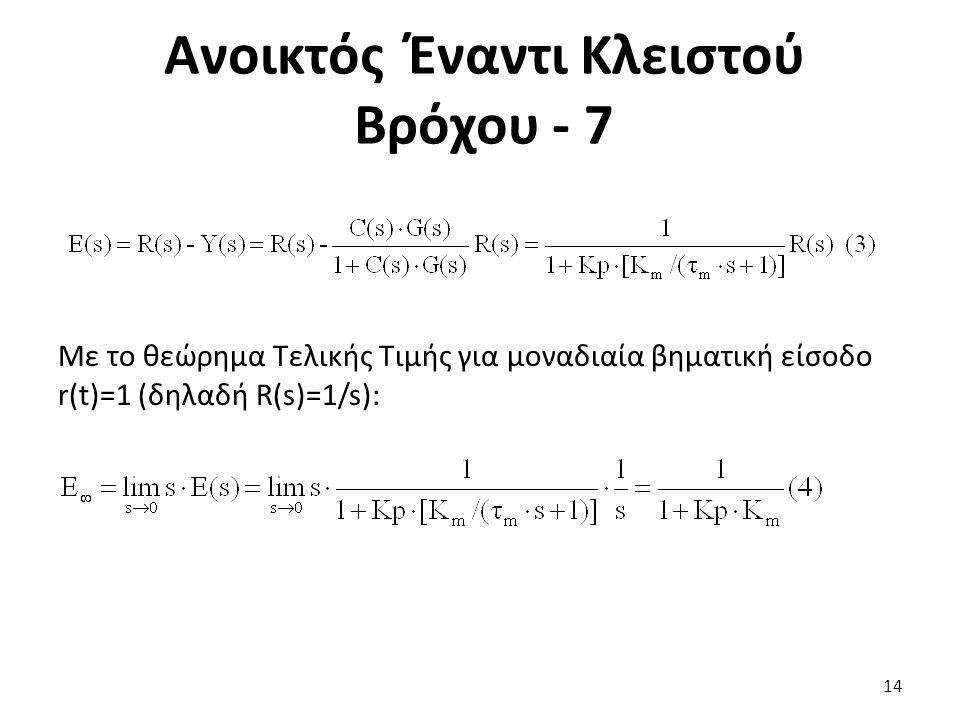 Με το θεώρημα Τελικής Τιμής για μοναδιαία βηματική είσοδο r(t)=1 (δηλαδή R(s)=1/s): 14 Ανοικτός Έναντι Κλειστού Βρόχου - 7