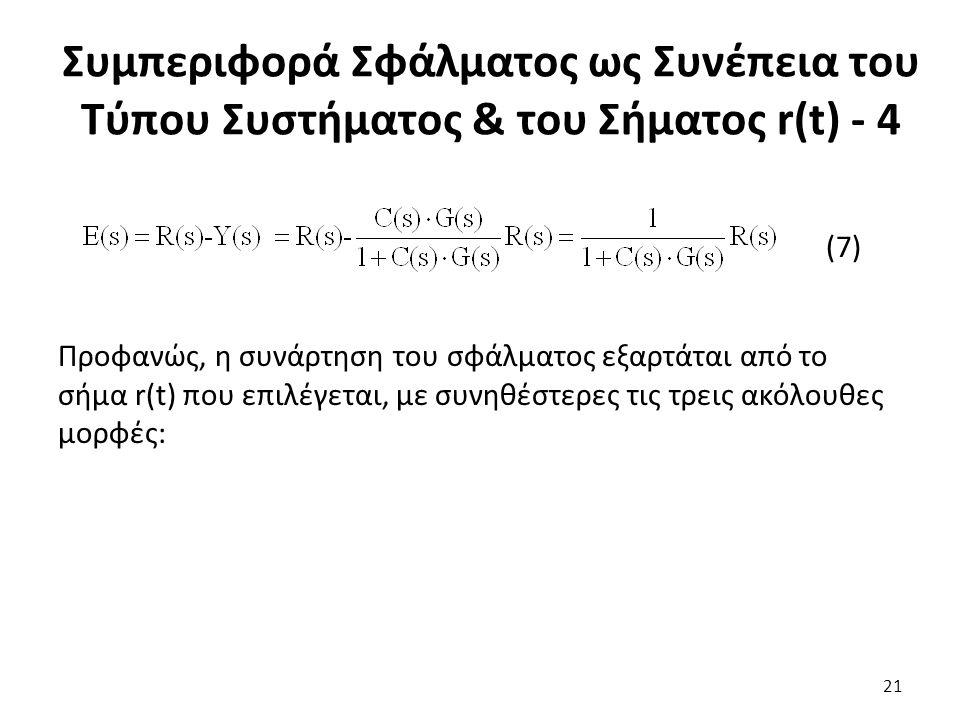 (7) Προφανώς, η συνάρτηση του σφάλματος εξαρτάται από το σήμα r(t) που επιλέγεται, με συνηθέστερες τις τρεις ακόλουθες μορφές: 21 Συμπεριφορά Σφάλματος ως Συνέπεια του Τύπου Συστήματος & του Σήματος r(t) - 4
