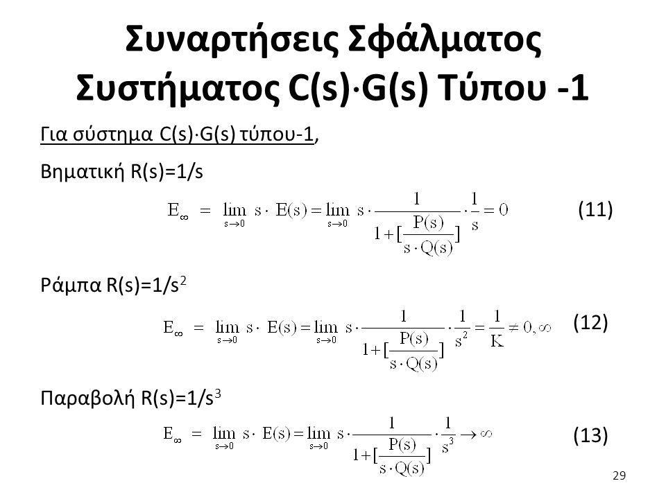 Συναρτήσεις Σφάλματος Συστήματος C(s)  G(s) Τύπου -1 Για σύστημα C(s)  G(s) τύπου-1, Βηματική R(s)=1/s (11) Ράμπα R(s)=1/s 2 (12) Παραβολή R(s)=1/s 3 (13) 29