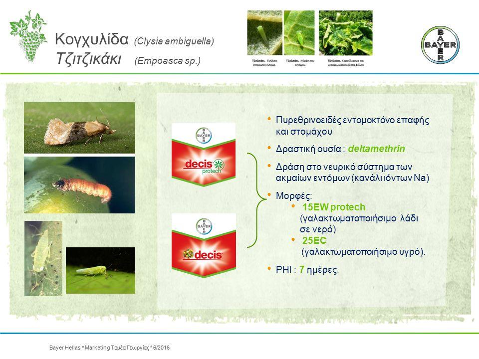 Κογχυλίδα (Clysia ambiguella) Τζιτζικάκι (Empoasca sp.) Πυρεθρινοειδές εντομοκτόνο επαφής και στομάχου Δραστική ουσία : deltamethrin Δράση στο νευρικό