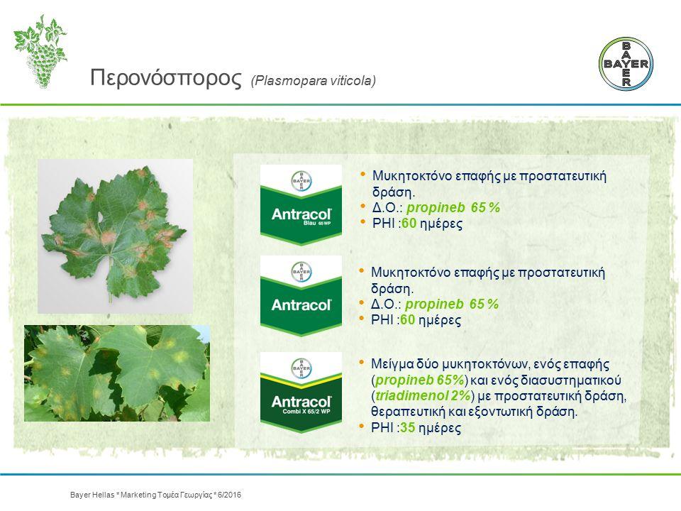 Περονόσπορος (Plasmopara viticola) Μυκητοκτόνο επαφής με προστατευτική δράση. Δ.Ο.: propineb 65 % PHI :60 ημέρες Μυκητοκτόνο επαφής με προστατευτική δ