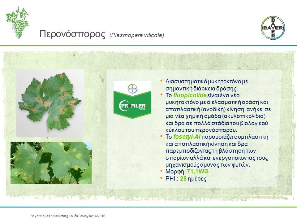 Περονόσπορος (Plasmopara viticola) Διασυστηματικό μυκητοκτόνο με σημαντική διάρκεια δράσης. Το fluopicolide είναι ένα νέο μυκητοκτόνο με διελασματική