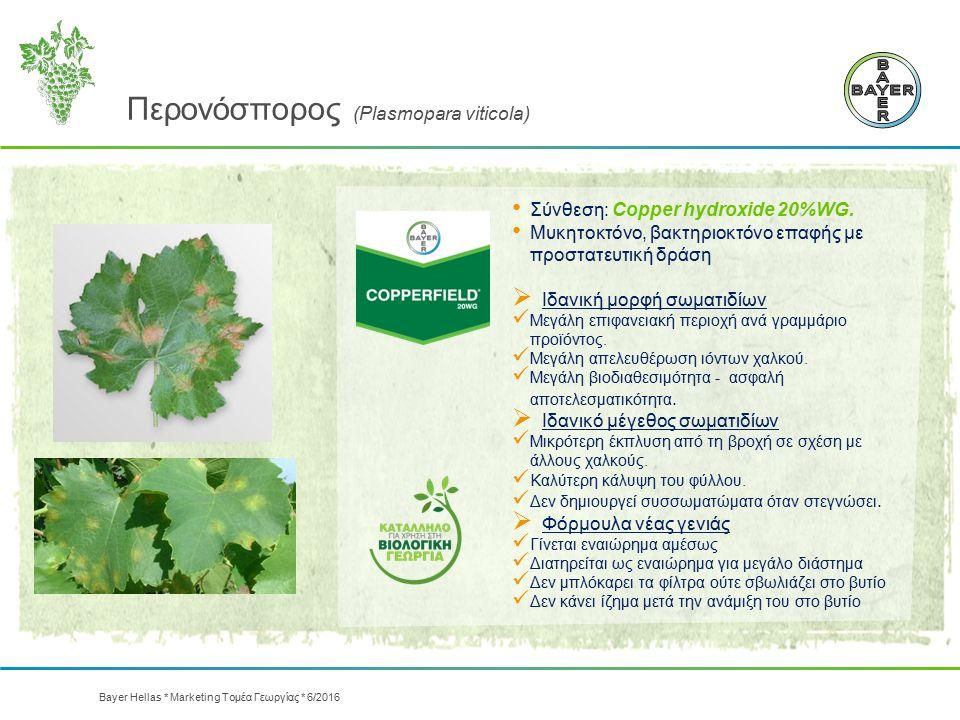 Περονόσπορος (Plasmopara viticola) Σύνθεση: Copper hydroxide 20%WG. Μυκητοκτόνο, βακτηριοκτόνο επαφής με προστατευτική δράση  Ιδανική μορφή σωματιδίω