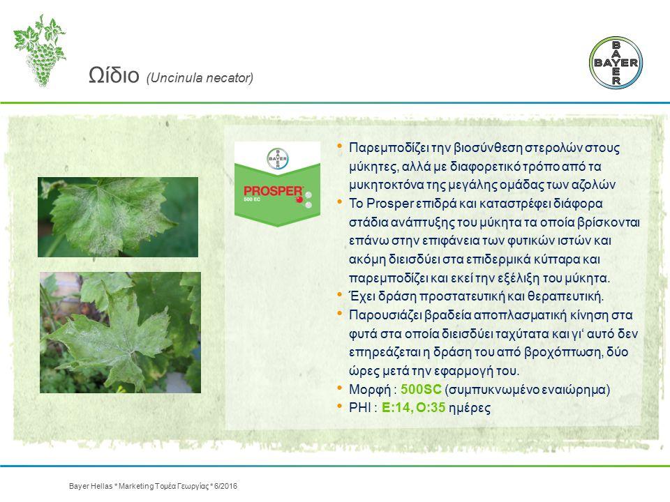 Ωίδιο (Uncinula necator) Παρεμποδίζει την βιοσύνθεση στερολών στους μύκητες, αλλά με διαφορετικό τρόπο από τα μυκητοκτόνα της μεγάλης ομάδας των αζολώ