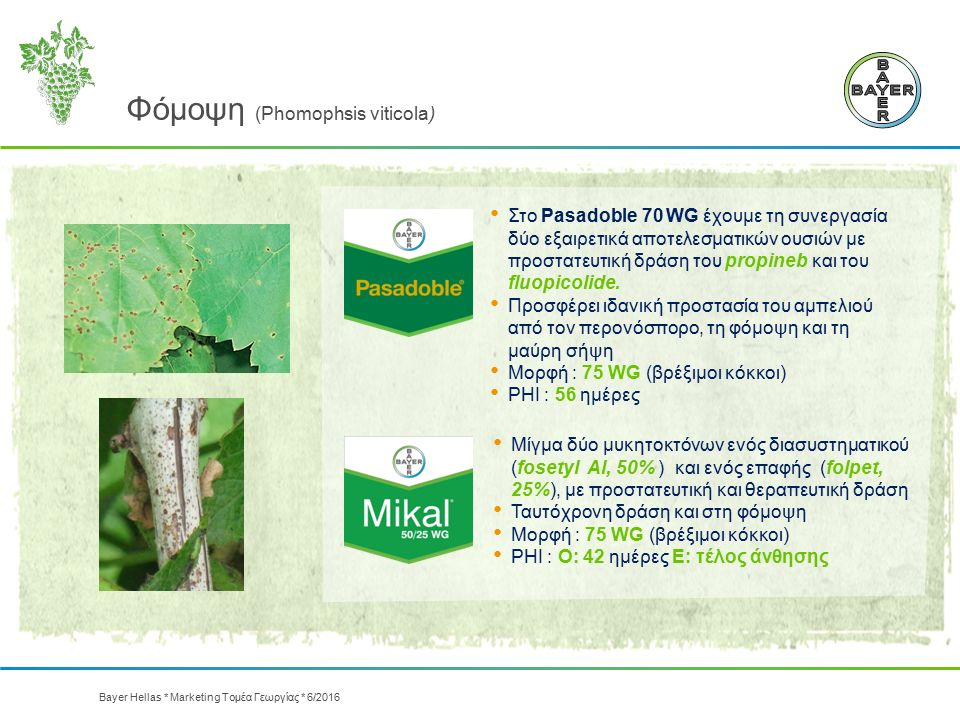 Φόμοψη (Phomophsis viticola) Μίγμα δύο μυκητοκτόνων ενός διασυστηματικού (fosetyl Αl, 50% ) και ενός επαφής (folpet, 25%), με προστατευτική και θεραπε