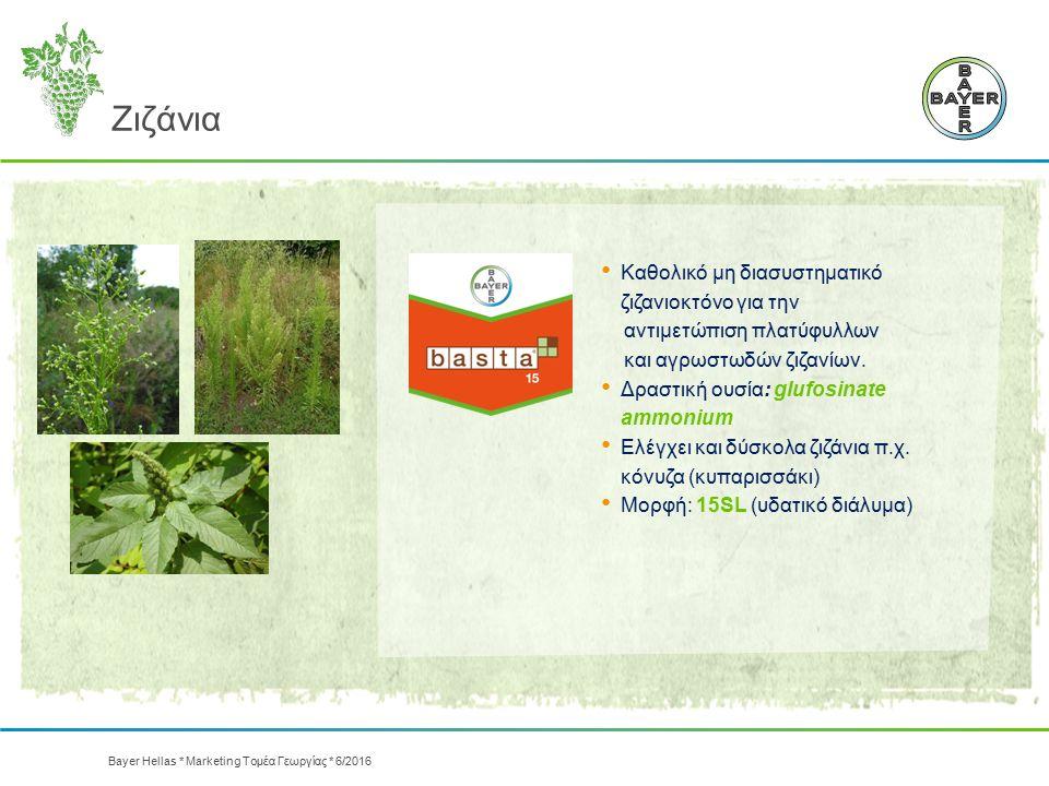 Καθολικό μη διασυστηματικό ζιζανιοκτόνο για την αντιμετώπιση πλατύφυλλων και αγρωστωδών ζιζανίων. Δραστική ουσία: glufosinate ammonium Ελέγχει και δύσ