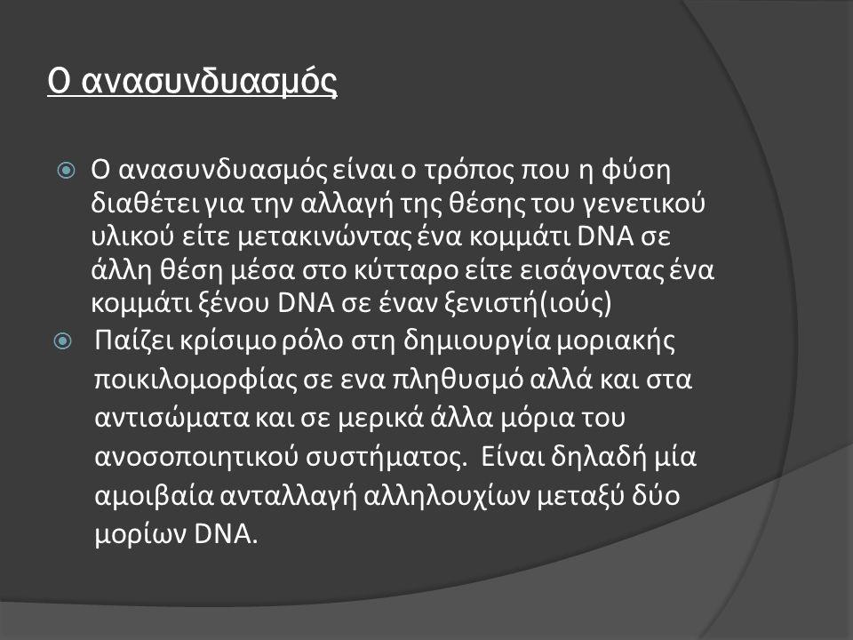 Ο ανασυνδυασμός  Ο ανασυνδυασμός είναι ο τρόπος που η φύση διαθέτει για την αλλαγή της θέσης του γενετικού υλικού είτε μετακινώντας ένα κομμάτι DNA σ