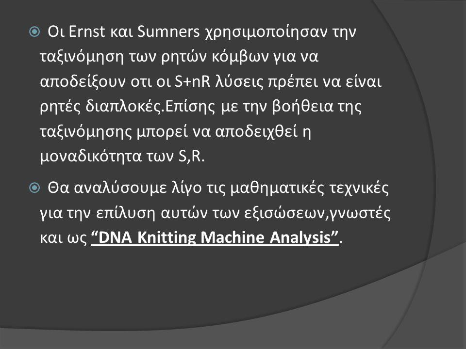  Οι Ernst και Sumners χρησιμοποίησαν την ταξινόμηση των ρητών κόμβων για να αποδείξουν οτι οι S+nR λύσεις πρέπει να είναι ρητές διαπλοκές.Επίσης με τ