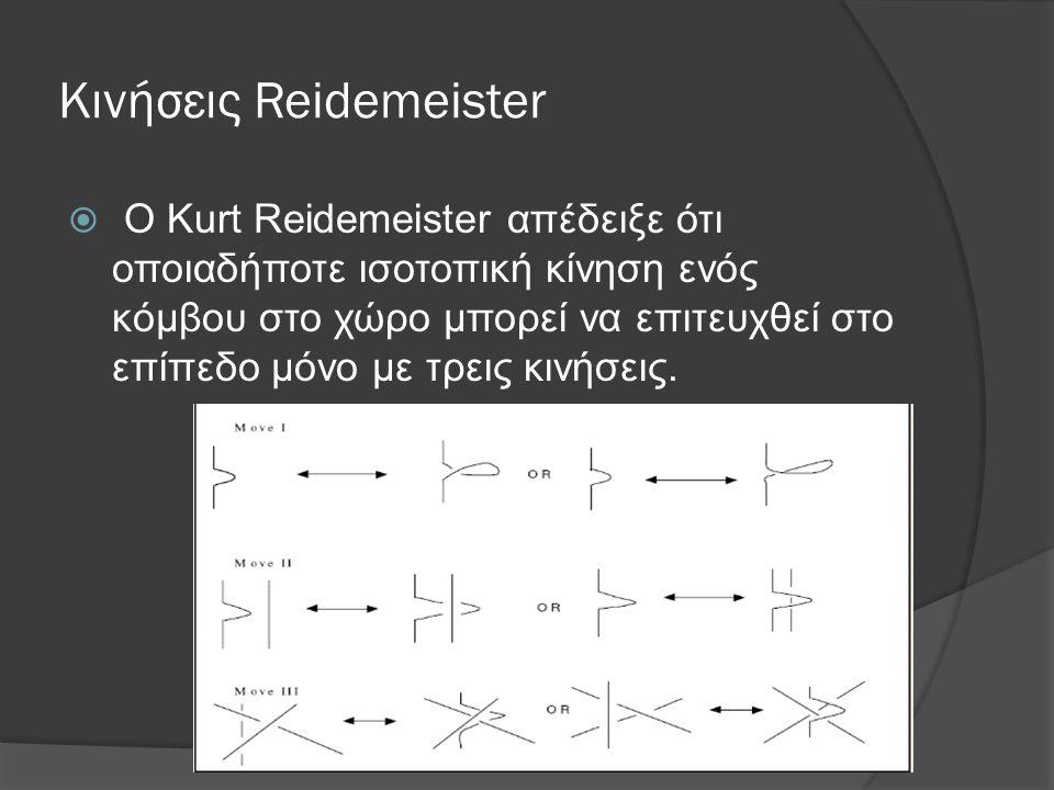 Κινήσεις Reidemeister  O Kurt Reidemeister απέδειξε ότι οποιαδήποτε ισοτοπική κίνηση ενός κόμβου στο χώρο μπορεί να επιτευχθεί στο επίπεδο μόνο με τρ