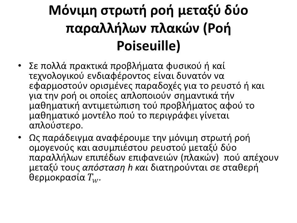 Μόνιμη στρωτή ροή μεταξύ δύο παραλλήλων πλακών (Ροή Poiseuille)