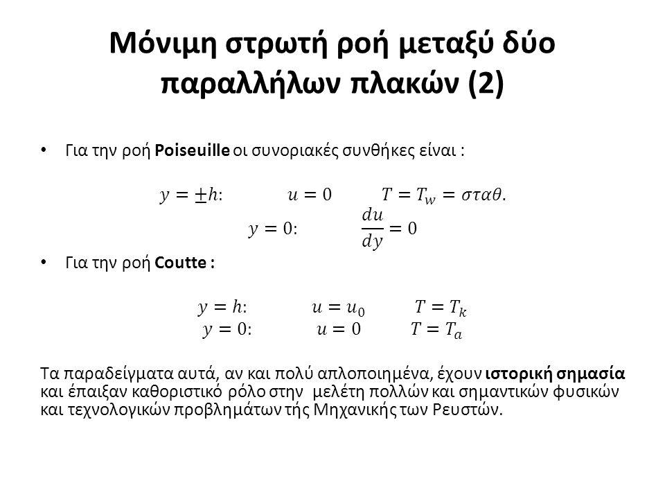 Μόνιμη στρωτή ροή μεταξύ δύο παραλλήλων πλακών (2)