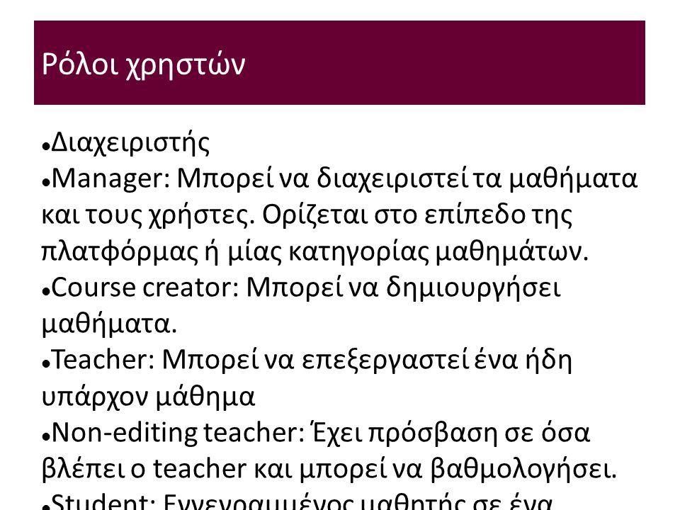 Ρόλοι χρηστών Διαχειριστής Manager: Μπορεί να διαχειριστεί τα μαθήματα και τους χρήστες.