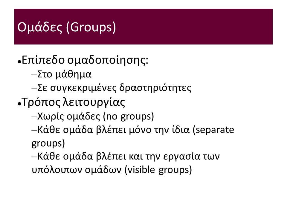 Ομάδες (Groups) Επίπεδο ομαδοποίησης: – Στο μάθημα – Σε συγκεκριμένες δραστηριότητες Τρόπος λειτουργίας – Χωρίς ομάδες (no groups) – Κάθε ομάδα βλέπει μόνο την ίδια (separate groups) – Κάθε ομάδα βλέπει και την εργασία των υπόλοιπων ομάδων (visible groups)