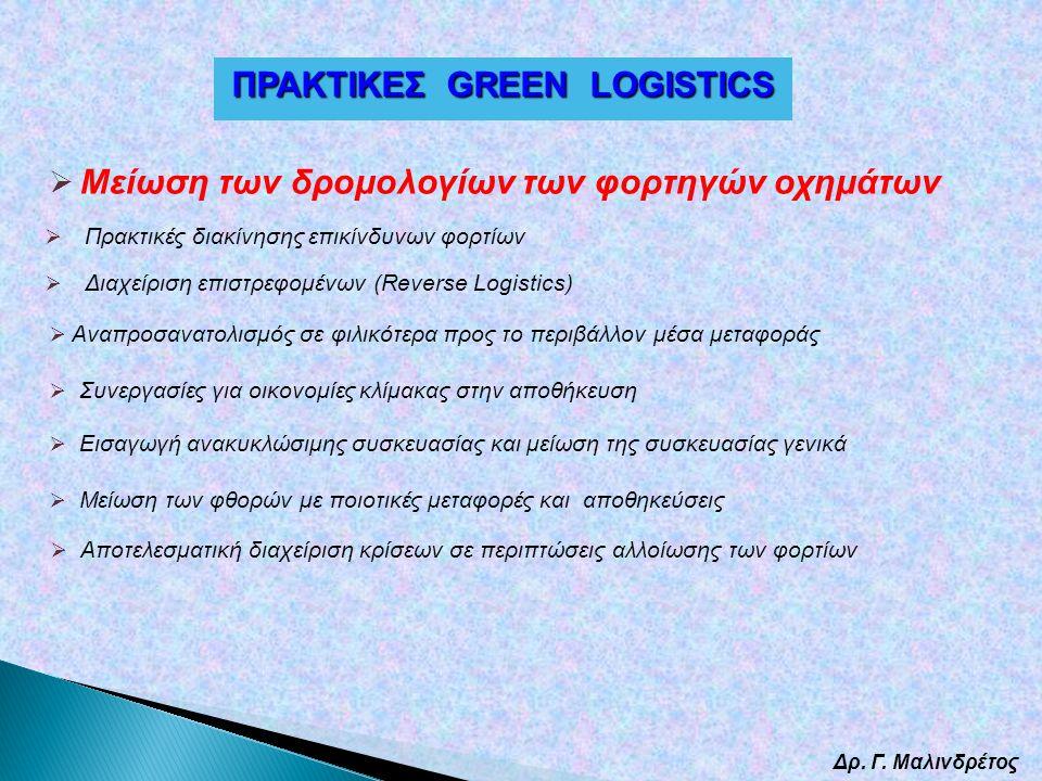 Δρ. Γ. Μαλινδρέτος  Μείωση των δρομολογίων των φορτηγών οχημάτων  Εισαγωγή ανακυκλώσιμης συσκευασίας και μείωση της συσκευασίας γενικά  Συνεργασίες