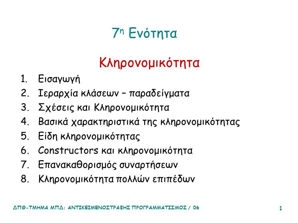 ΔΠΘ-ΤΜΗΜΑ ΜΠΔ: ΑΝΤΙΚΕΙΜΕΝΟΣΤΡΑΦΗΣ ΠΡΟΓΡΑΜΜΑΤΙΣΜΟΣ / 06 1 7 η Ενότητα Κληρονομικότητα 1.Εισαγωγή 2.Ιεραρχία κλάσεων – παραδείγματα 3.Σχέσεις και Κληρονομικότητα 4.Βασικά χαρακτηριστικά της κληρονομικότητας 5.Είδη κληρονομικότητας 6.Constructors και κληρονομικότητα 7.Επανακαθορισμός συναρτήσεων 8.Κληρονομικότητα πολλών επιπέδων