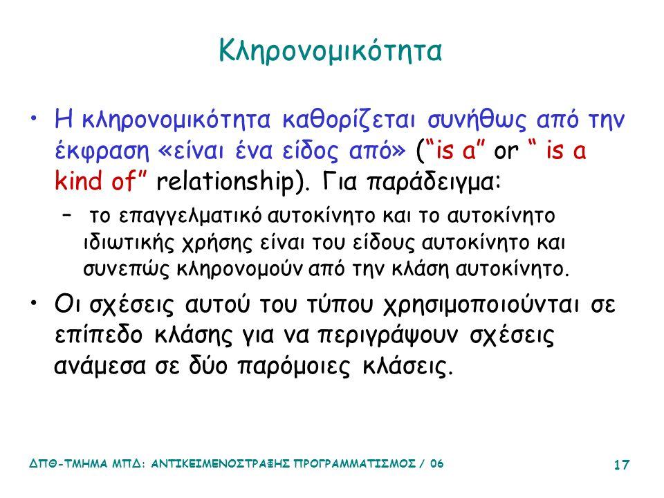 ΔΠΘ-ΤΜΗΜΑ ΜΠΔ: ΑΝΤΙΚΕΙΜΕΝΟΣΤΡΑΦΗΣ ΠΡΟΓΡΑΜΜΑΤΙΣΜΟΣ / 06 17 Κληρονομικότητα Η κληρονομικότητα καθορίζεται συνήθως από την έκφραση «είναι ένα είδος από» ( is a or is a kind of relationship).