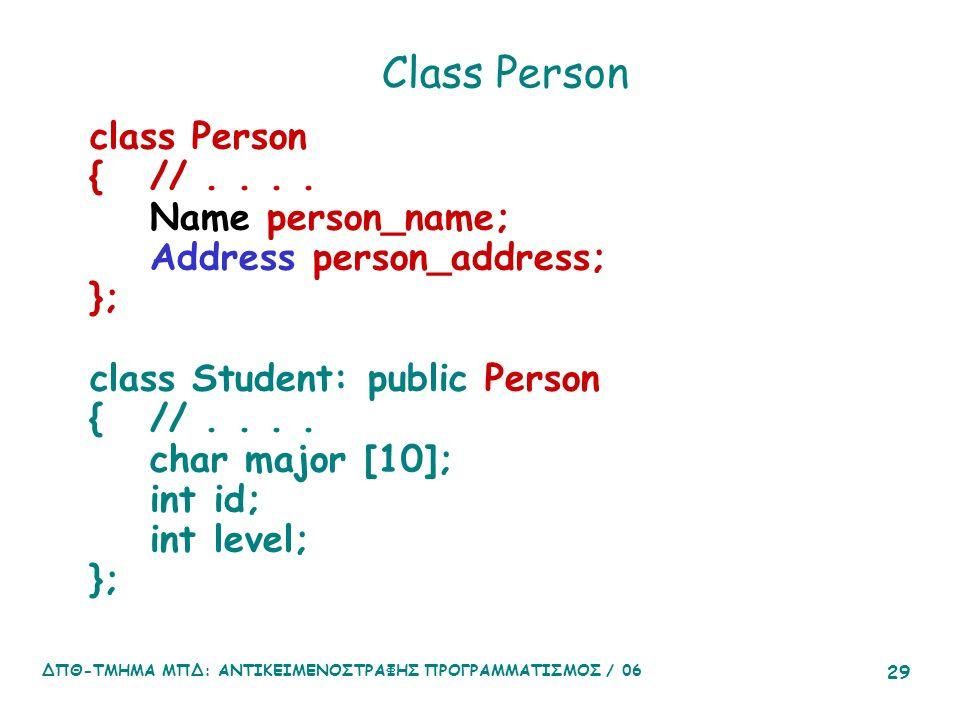 ΔΠΘ-ΤΜΗΜΑ ΜΠΔ: ΑΝΤΙΚΕΙΜΕΝΟΣΤΡΑΦΗΣ ΠΡΟΓΡΑΜΜΑΤΙΣΜΟΣ / 06 29 Class Person class Person {//....