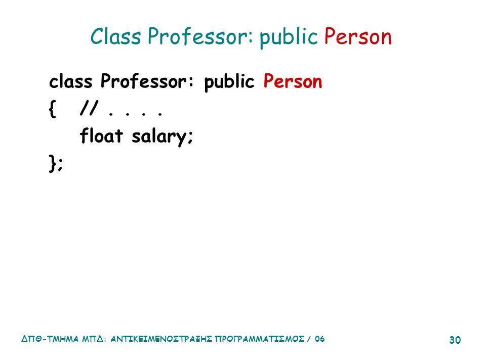 ΔΠΘ-ΤΜΗΜΑ ΜΠΔ: ΑΝΤΙΚΕΙΜΕΝΟΣΤΡΑΦΗΣ ΠΡΟΓΡΑΜΜΑΤΙΣΜΟΣ / 06 30 Class Professor: public Person class Professor: public Person {//....