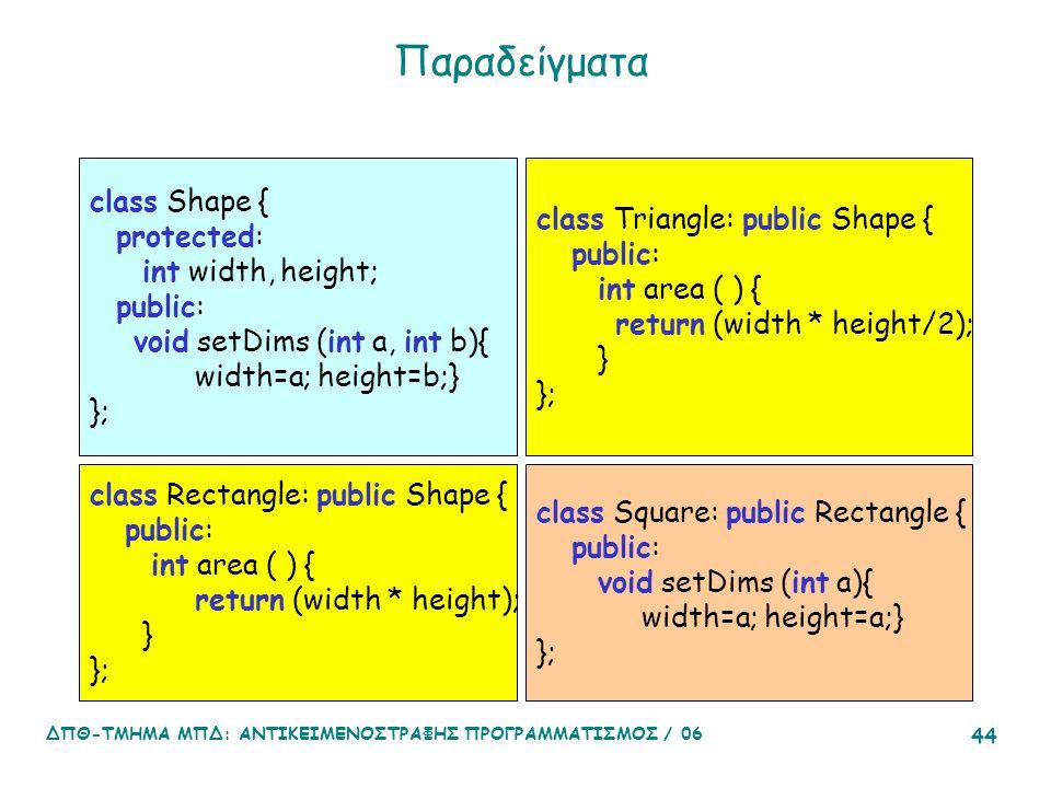 ΔΠΘ-ΤΜΗΜΑ ΜΠΔ: ΑΝΤΙΚΕΙΜΕΝΟΣΤΡΑΦΗΣ ΠΡΟΓΡΑΜΜΑΤΙΣΜΟΣ / 06 44 Παραδείγματα class Shape { protected: int width, height; public: void setDims (int a, int b){ width=a; height=b;} }; class Rectangle: public Shape { public: int area ( ) { return (width * height); } }; class Triangle: public Shape { public: int area ( ) { return (width * height/2); } }; class Square: public Rectangle { public: void setDims (int a){ width=a; height=a;} };