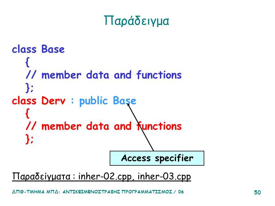 ΔΠΘ-ΤΜΗΜΑ ΜΠΔ: ΑΝΤΙΚΕΙΜΕΝΟΣΤΡΑΦΗΣ ΠΡΟΓΡΑΜΜΑΤΙΣΜΟΣ / 06 50 Παράδειγμα class Base { // member data and functions }; class Derv : public Base { // member data and functions }; Παραδείγματα : inher-02.cpp, inher-03.cpp Access specifier