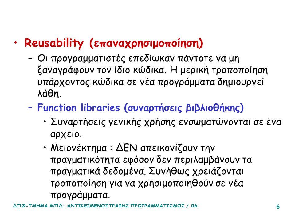 ΔΠΘ-ΤΜΗΜΑ ΜΠΔ: ΑΝΤΙΚΕΙΜΕΝΟΣΤΡΑΦΗΣ ΠΡΟΓΡΑΜΜΑΤΙΣΜΟΣ / 06 6 Reusability (επαναχρησιμοποίηση) –Οι προγραμματιστές επεδίωκαν πάντοτε να μη ξαναγράφουν τον ίδιο κώδικα.