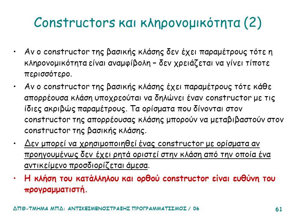 ΔΠΘ-ΤΜΗΜΑ ΜΠΔ: ΑΝΤΙΚΕΙΜΕΝΟΣΤΡΑΦΗΣ ΠΡΟΓΡΑΜΜΑΤΙΣΜΟΣ / 06 61 Constructors και κληρονομικότητα (2) Αν ο constructor της βασικής κλάσης δεν έχει παραμέτρους τότε η κληρονομικότητα είναι αναμφίβολη – δεν χρειάζεται να γίνει τίποτε περισσότερο.