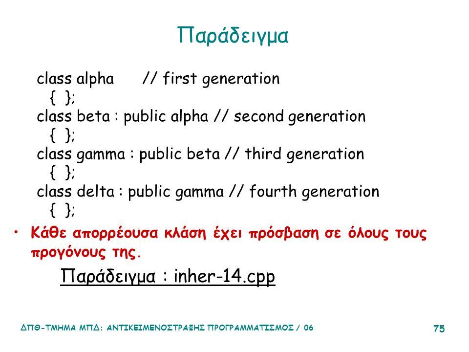 ΔΠΘ-ΤΜΗΜΑ ΜΠΔ: ΑΝΤΙΚΕΙΜΕΝΟΣΤΡΑΦΗΣ ΠΡΟΓΡΑΜΜΑΤΙΣΜΟΣ / 06 75 Παράδειγμα class alpha // first generation { }; class beta : public alpha // second generation { }; class gamma : public beta // third generation { }; class delta : public gamma // fourth generation { }; Κάθε απορρέουσα κλάση έχει πρόσβαση σε όλους τους προγόνους της.