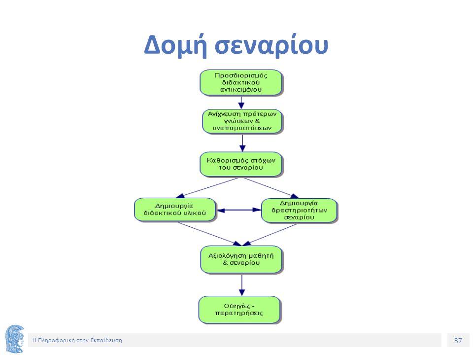 37 Η Πληροφορική στην Εκπαίδευση Δομή σεναρίου