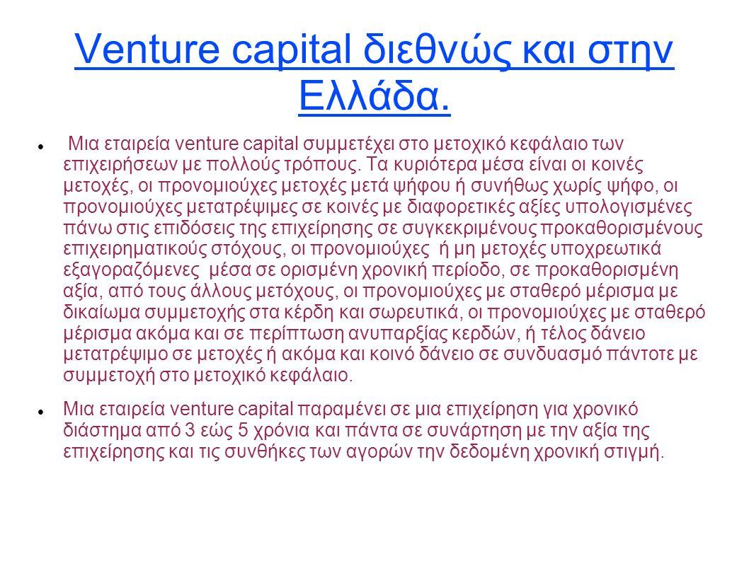 Venture capital διεθνώς και στην Ελλάδα. Μια εταιρεία venture capital συμμετέχει στο μετοχικό κεφάλαιο των επιχειρήσεων με πολλούς τρόπους. Τα κυριότε